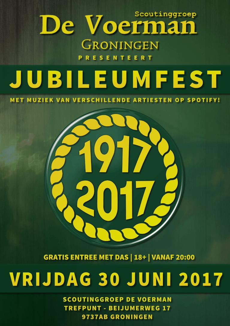 De Voerman 100 jaar! Jubileumfest flyer voor 30 juni.