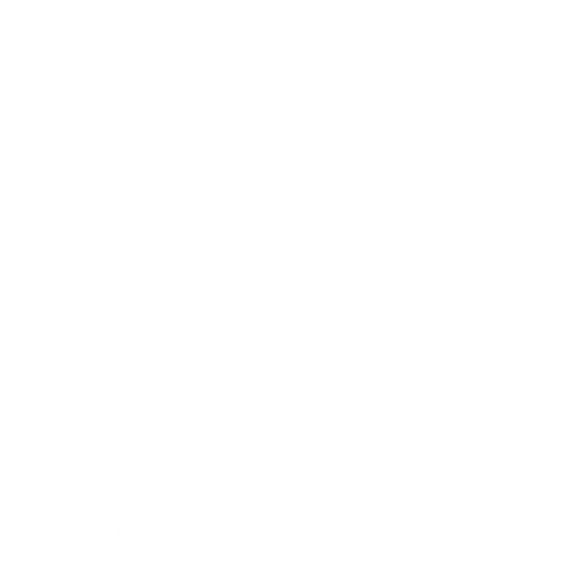 De Voerman logo 2020 met tekst - Wit met transparante achtergrond
